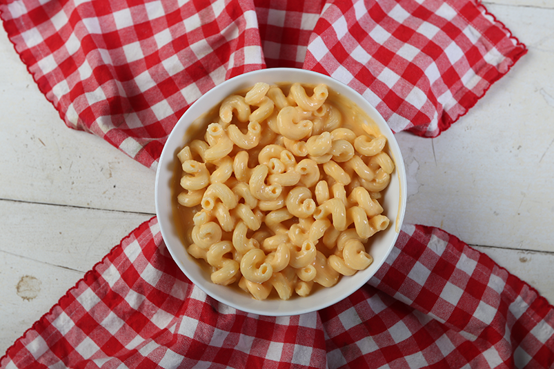 Healthy mac and cheese made with cauliflower and carrots